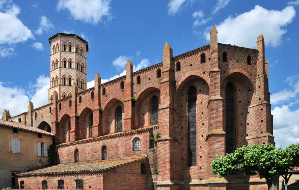 Cathedrale Lombez clocher octogonal en brique rouge de Toulouse