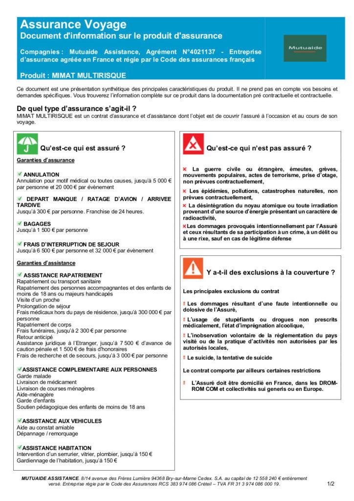 Assurance-Mimat-conditions d'annulation pris en charge